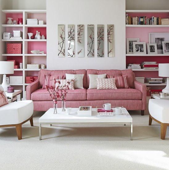 Pembe Renk Oturma Odası