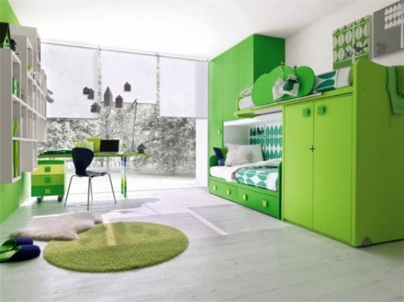 Yeşil Beyaz Yatak Odası (13)