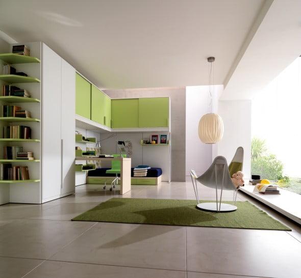 Yeşil Beyaz Yatak Odası (17)
