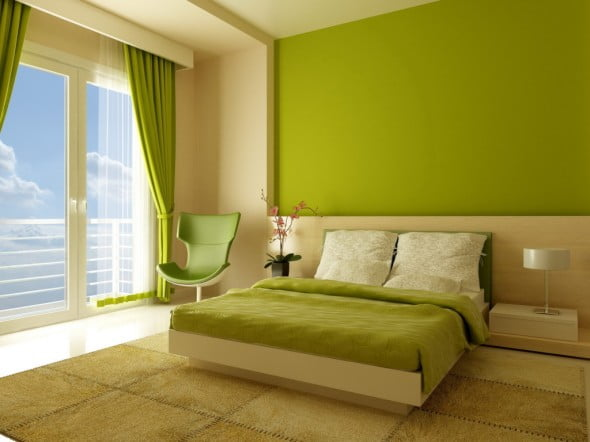 Yeşil Beyaz Yatak Odası (2)