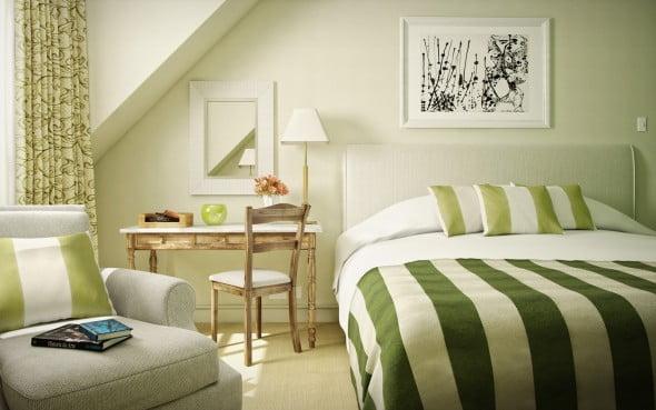 Yeşil Beyaz Yatak Odası (21)