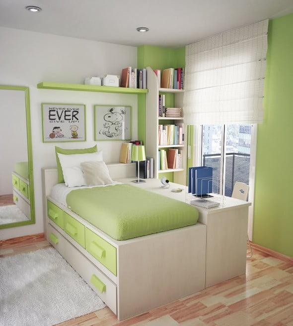 Yeşil Beyaz Yatak Odası (7)