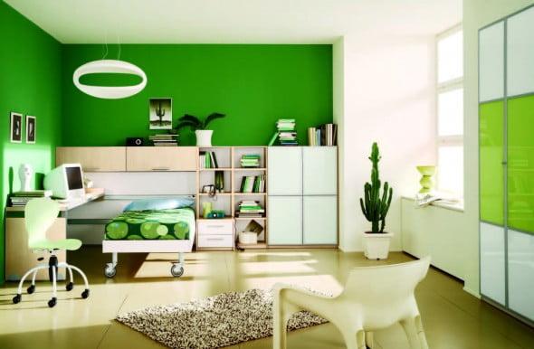 Yeşil Beyaz Yatak Odası (8)