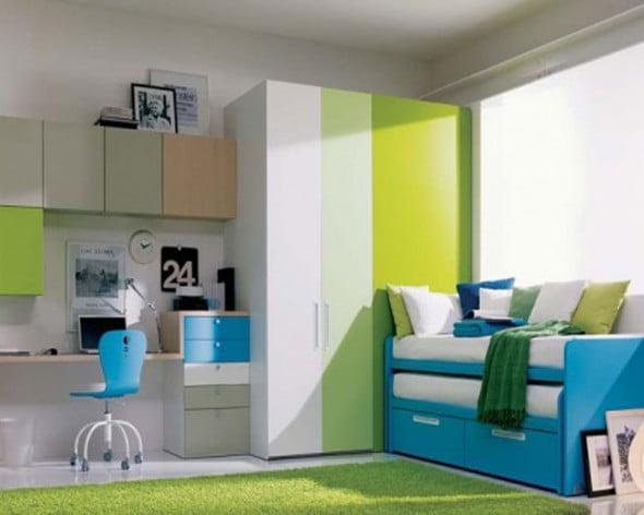Yeşil Beyaz Yatak Odası (9)
