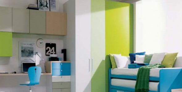 Yeşil Beyaz Yatak Odası