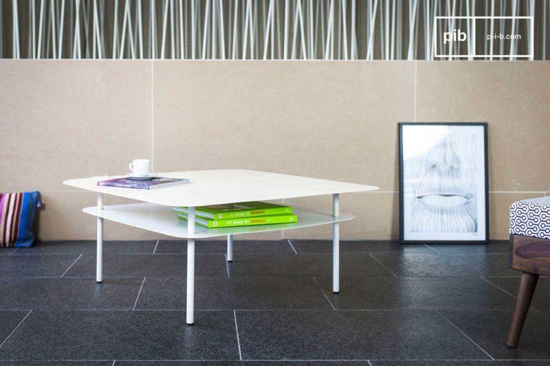 Beyaz metal oturma odası masası