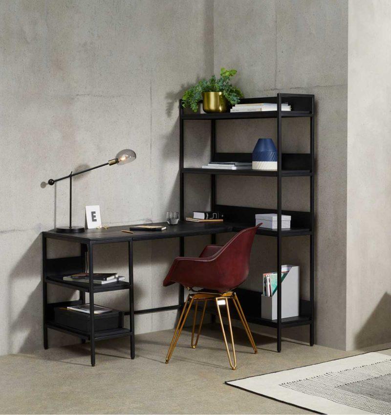 Tasarım siyah köşe masası