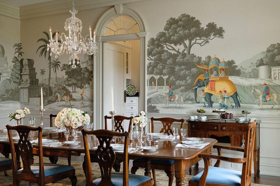 6-1-mutfak-duvar kağıdı-duvar kaplaması-fikirler-in-iç-tasarım-duvar-duvar-hint-motifleri-filler-yemek odası-kemerli-kapı-vasistas-cam-avize-masa-ahşap-klasik-tarz- sandalyeler