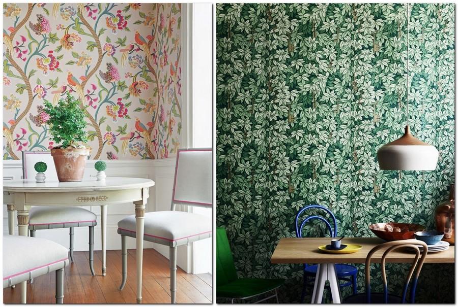7-mutfak-duvar-kaplaması-fikirler-in-iç-tasarım-kuş-motifleri-çiçek-baskı-organik-yeşil-yapraklar-ahşap-paneller-beyaz-paneller-masa-yemek-sandalyeleri