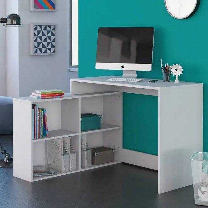 Yer tasarrufu sağlayan bu köşe masası, çalışmak için gerçekten pratik ve düzenli bir ofis alanına sahip olmanızı sağlar