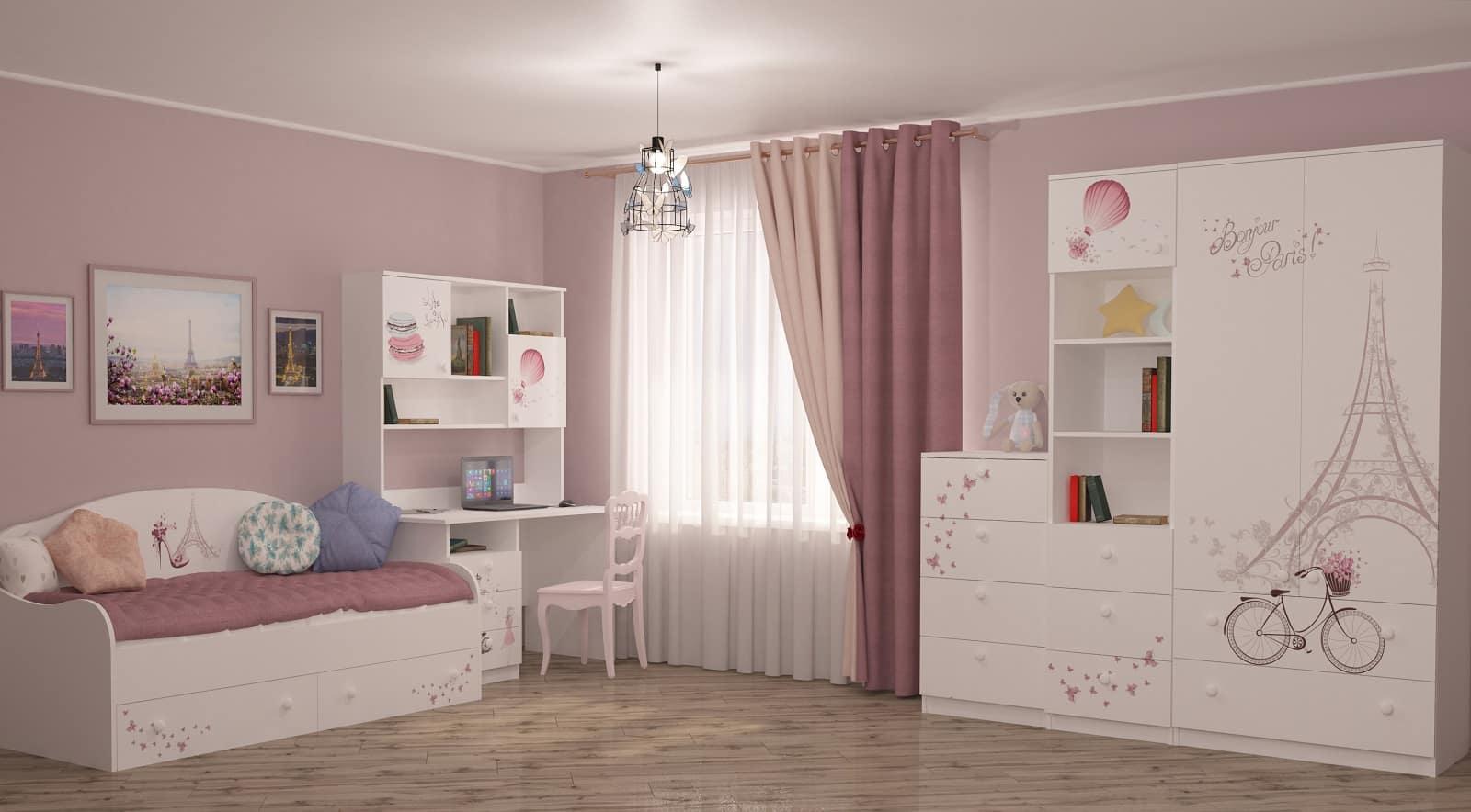 Daha İyi Çocuk Odaları Tasarlamak İçin 6 İpucu.  Soluk pembe duvarlar, zeminde muşamba ve beyaz tavan / mobilya ile sade dekorasyon