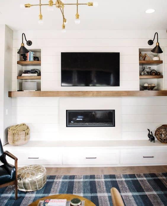 7-Şömineyi oturma odasının diğer işlevlerine entegre edin