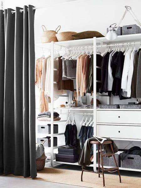 Giyinme odanızı perdelerle gizleyin