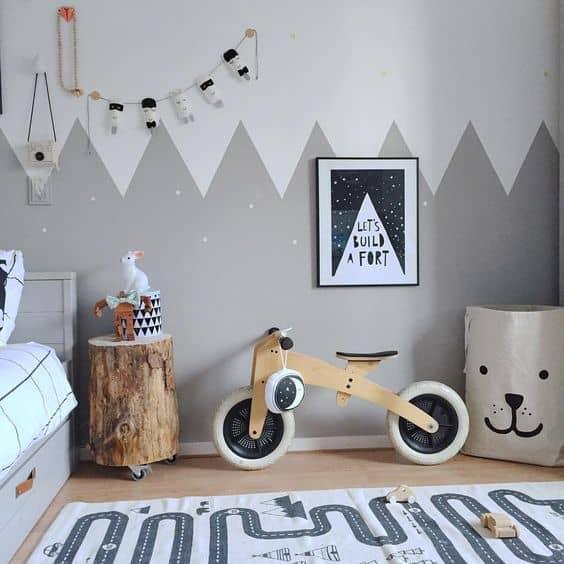 Modern bir yatak odası için beyaz ve gri kullanın