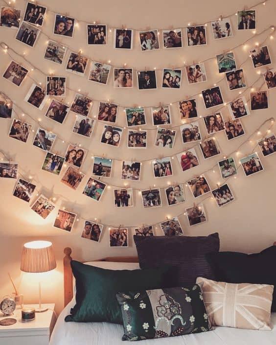 Atmosfer vermek için fotoğraflarınızı ışıklarla asın