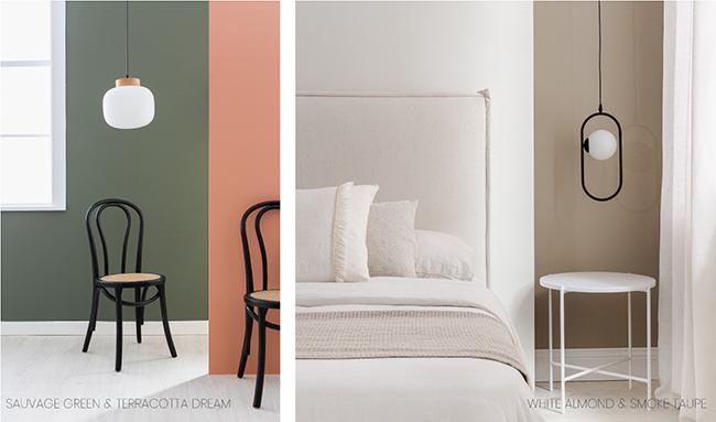 Kenay Home ve Bruguer renkleri: Zeytin yeşili, pişmiş toprak, badem beyazı ve boz kahverengi