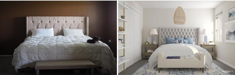 Bir yatak odasının eser veya mobilya olmadan yenilenmesi