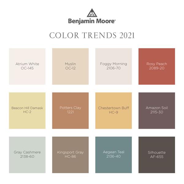 Benjamin Moore'un 2020 Yılının Ege Teal Rengi Teal Blue ile uyumlu renk paleti