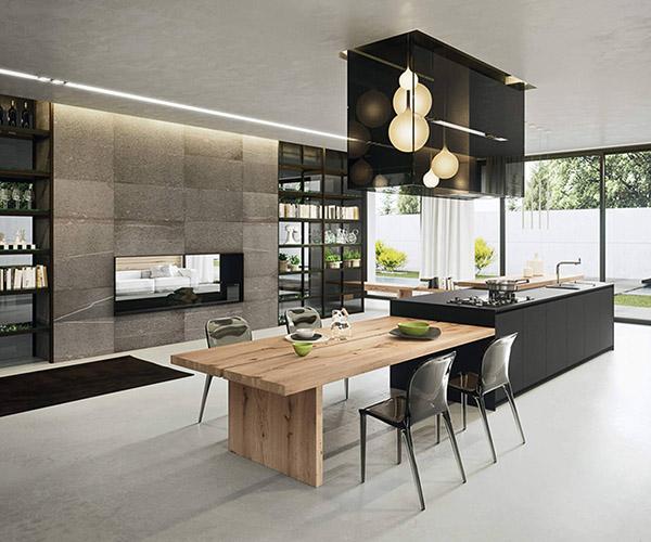 Çeşitli malzemeleri bir araya getiren arrital mutfak: Ahşap, metal ve seramik