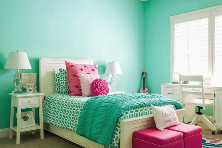Nane yeşili kız yatak odası