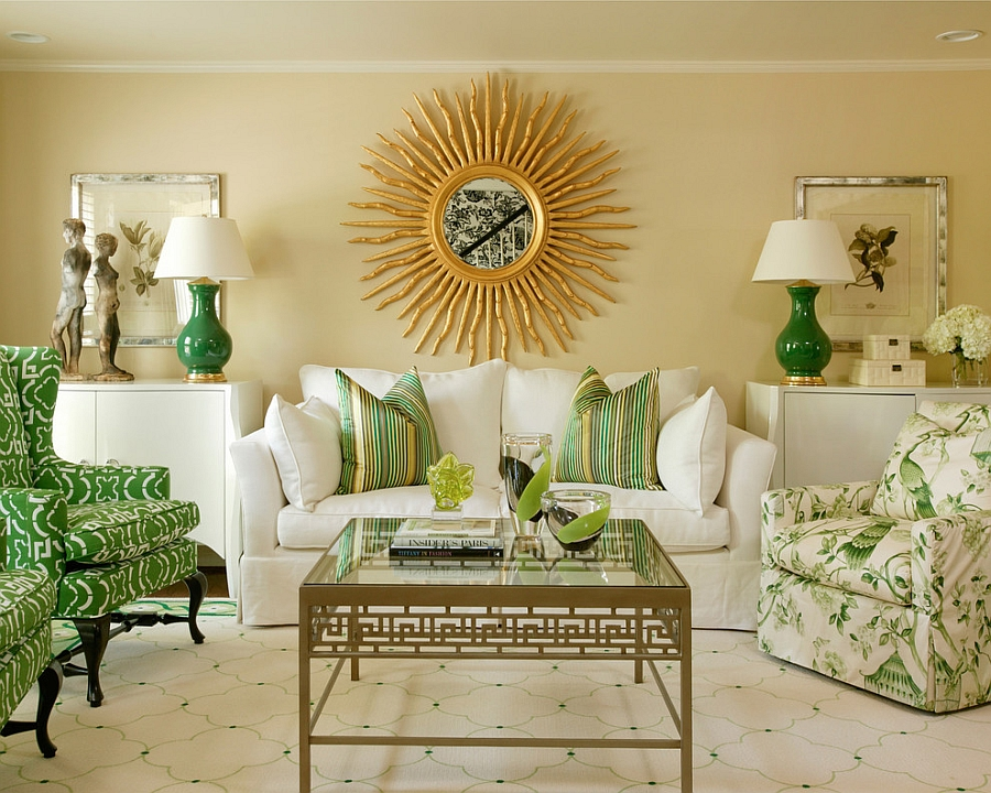 yeşil altın renkleri boyama oturma odası ev fikirleri fotoğrafları
