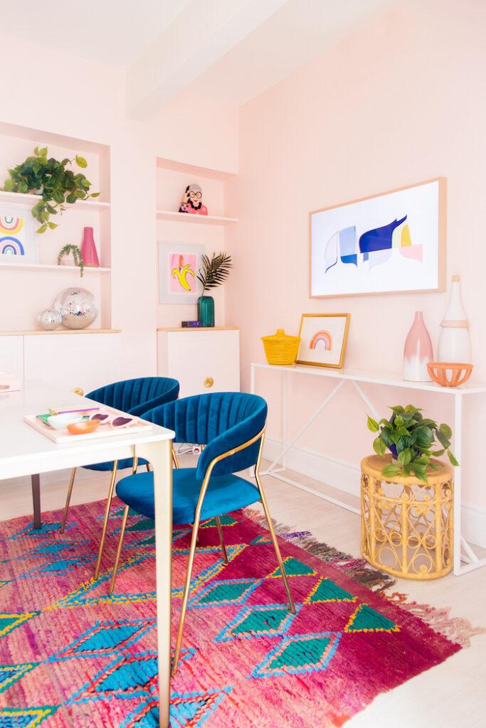 ev ofis odası fikirleri fotoğrafları pembe