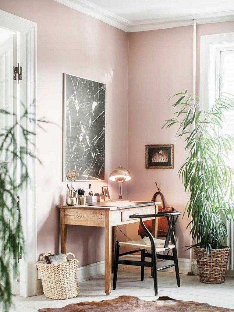 boyama duvar renkleri 2021 ofis ev odası fikirler fotoğrafları pembe