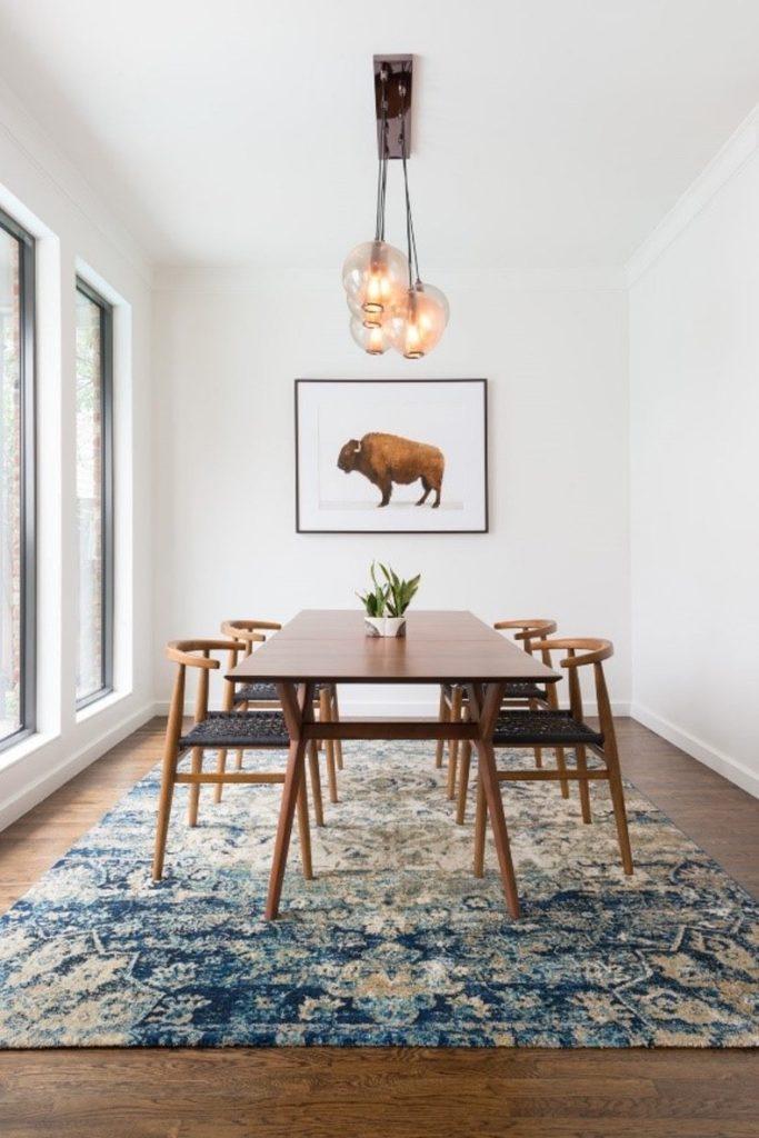 yemek odası halısı doğru ölçü dekorasyonu