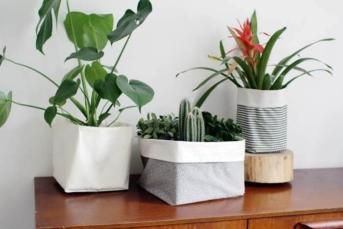 kumaş önbellekli bitki saksıları