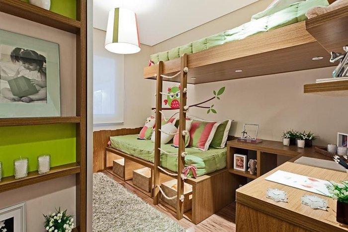 kız odası dekorasyonunda pembe ve yeşil