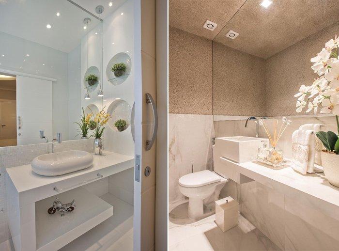 temiz lavabolarda iki üst üste yerleştirilmiş lavabo
