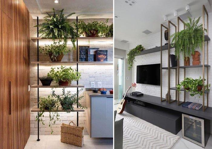 bitkilerle minimalist raflar