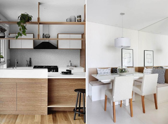 minimalist dekorda beyaz ve ahşap mobilyalar