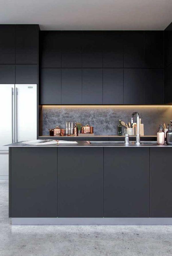 U şeklinde koyu mavi mutfak fikirleri