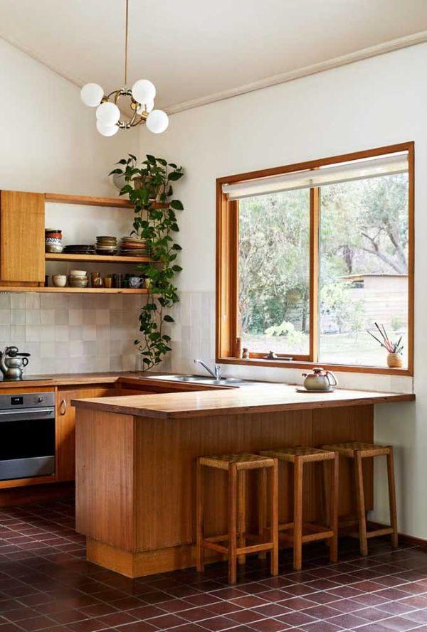Aydınlık oda tasarımı U şeklinde mutfak