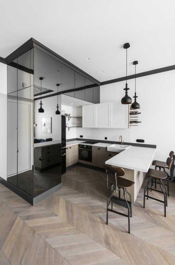 U şeklinde mutfak - iç mekan için şeffaf fikirler
