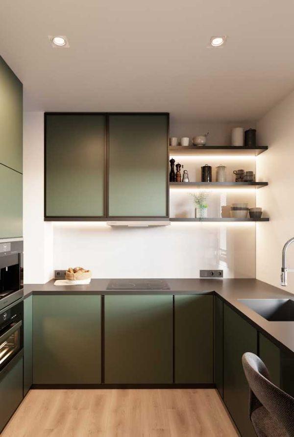 Süper modern gri-yeşil renk - U şekli mutfak fikirleri