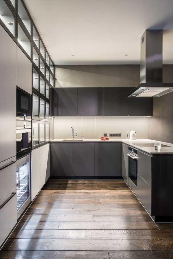 U şekli mutfak gri tasarımı