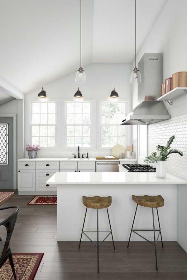 Beyaz mutfak fikirleri U şekli mutfak