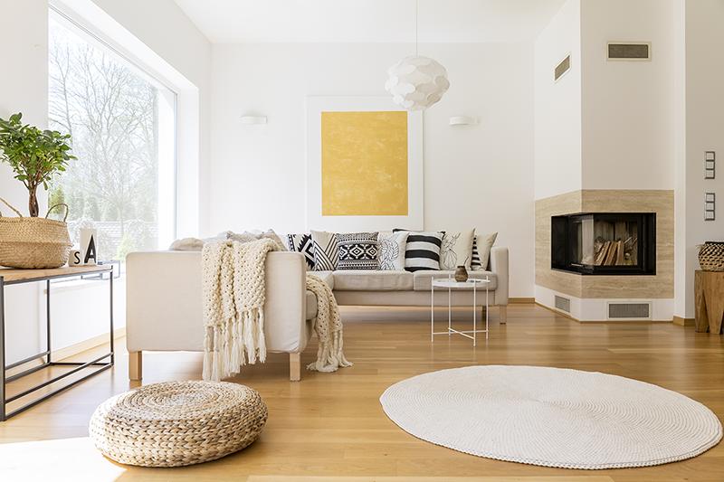 oturma odasında ekonomik dekorasyon ipuçları: doğal aydınlatma ve açık tonlar
