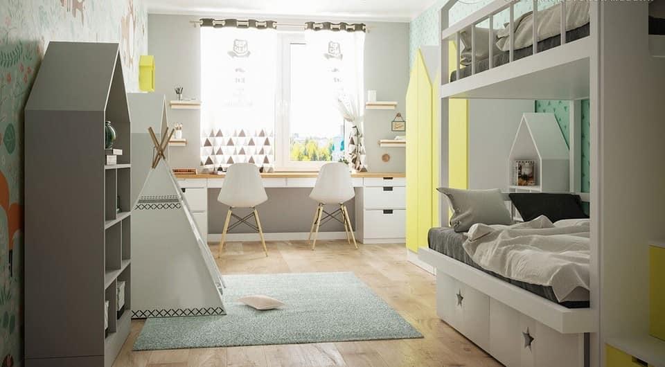 Daha İyi Çocuk Odaları Tasarlamak İçin 6 İpucu.  Sarı dolap ve pastel renkli oda