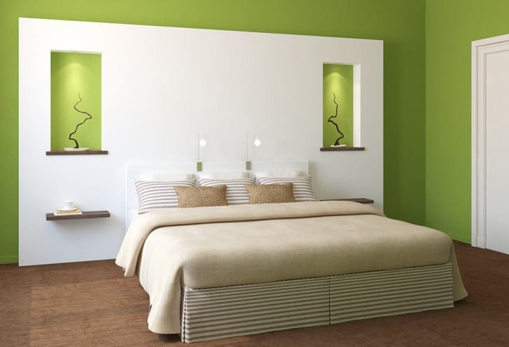 Yeşil ve beyaz yatak odası