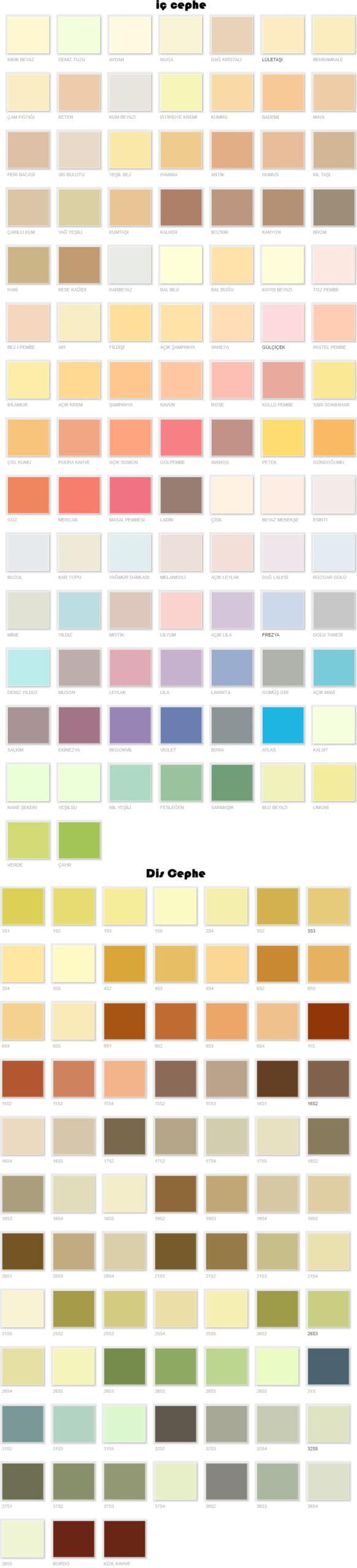Filli Boya Renk Kartelası