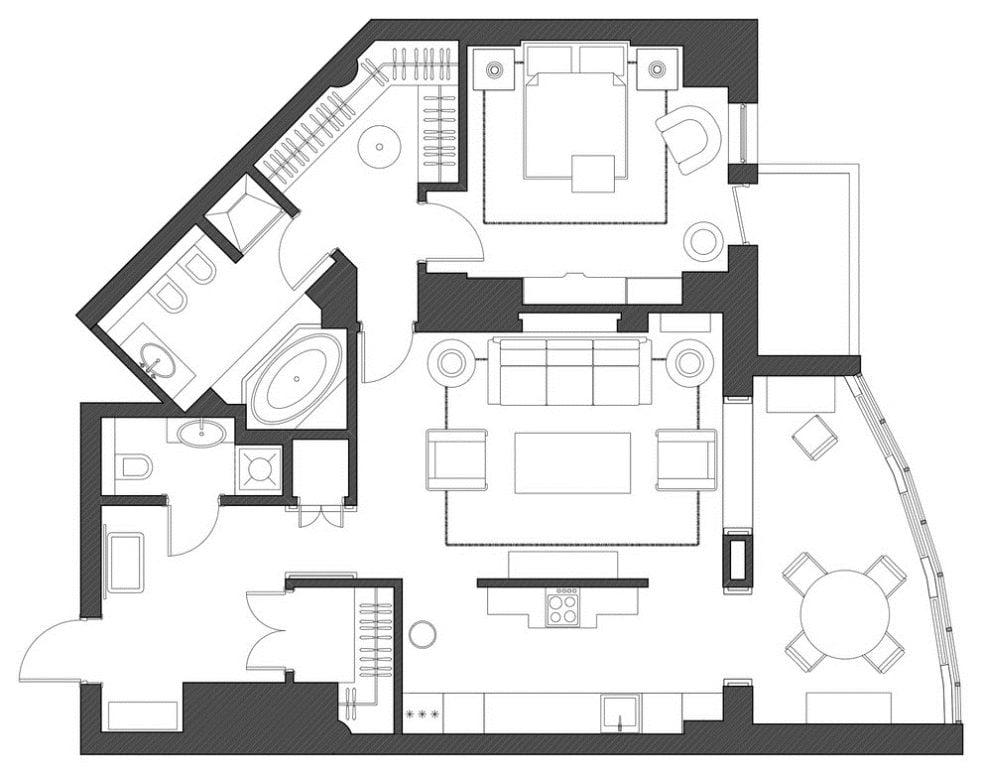 Genç bir kız için bir apartmanda Art Deco ve Amerikan klasikleri