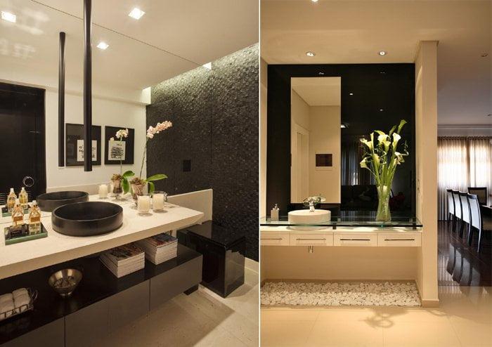lavabolar için üst üste binen iki lavabo modeli