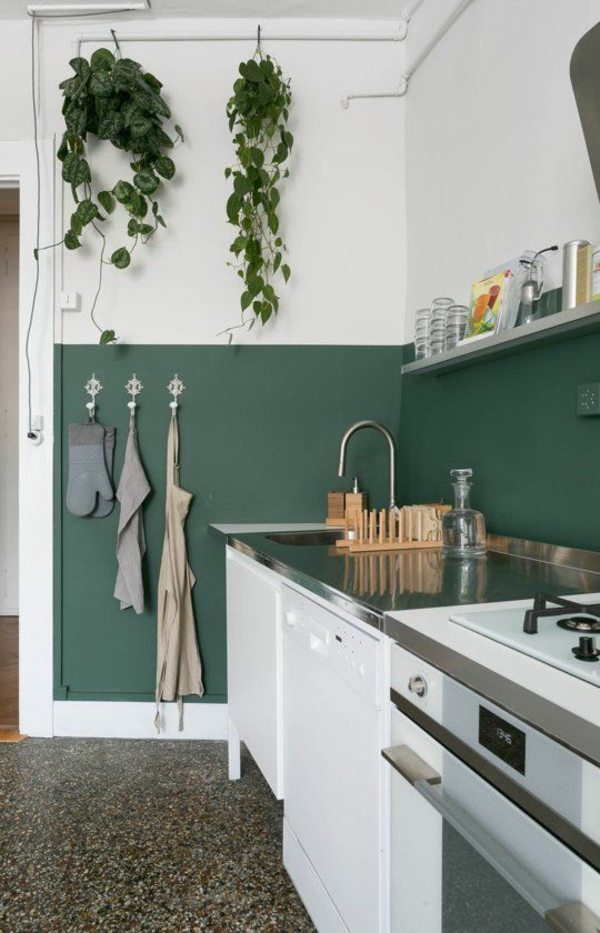 beyaz mutfak hangi duvar rengi iki tonlu duvar tasarım fikirleri