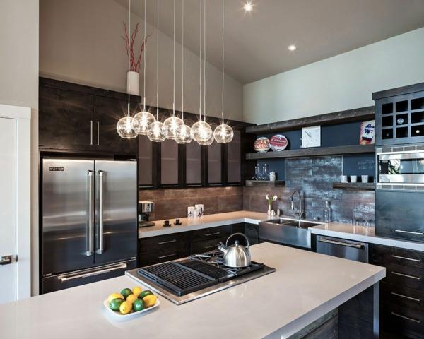 adalı modern mutfak modern aydınlatma koyu mobilya