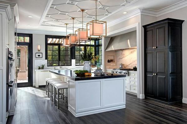 ada mutfak beyaz siyah tasarımlı modern mutfak
