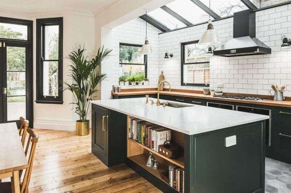 ada mutfak ada raflardan bitkiler ile modern mutfak