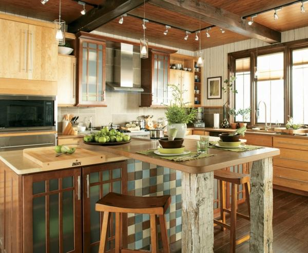 ada rustik vurgulu modern mutfak güzel aydınlatma